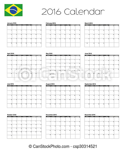 2016 Calendar with the Flag of Brazil - csp30314521