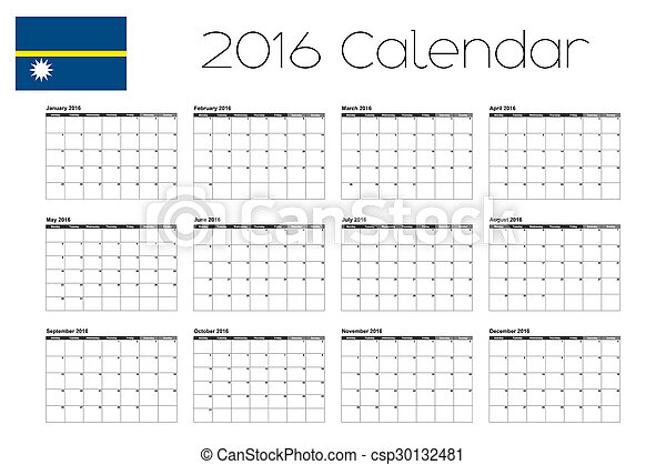 2016 Calendar with the Flag of Nauru - csp30132481