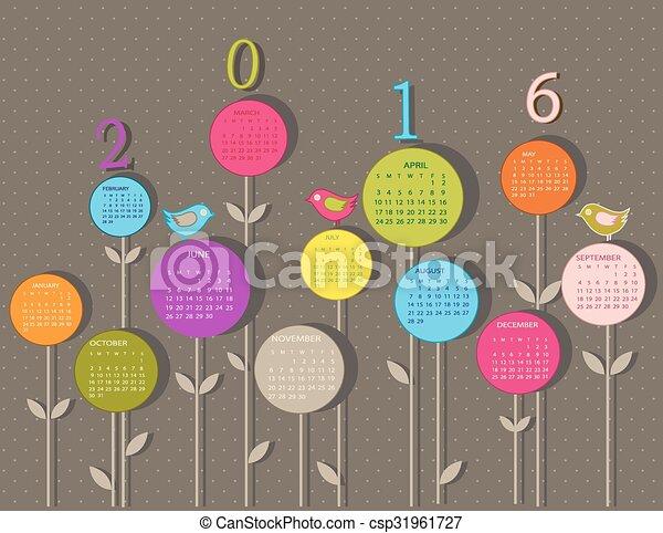 2016, calendario, fiori, anno - csp31961727
