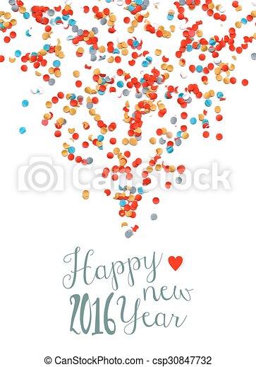 Feliz año nuevo 2016 poster de fiestas de confeti - csp30847732