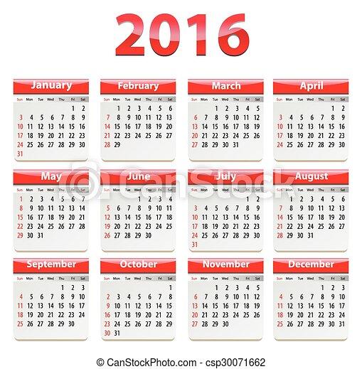 2016 English calendar - csp30071662