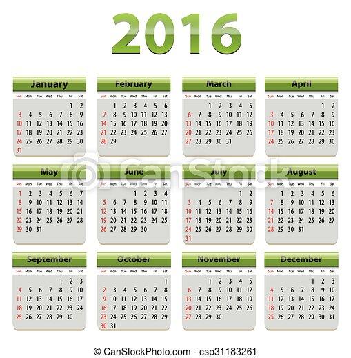 2016 English Calendar - csp31183261