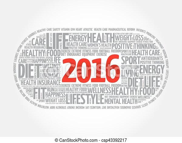 2016 health and sport goals word cloud - csp43392217