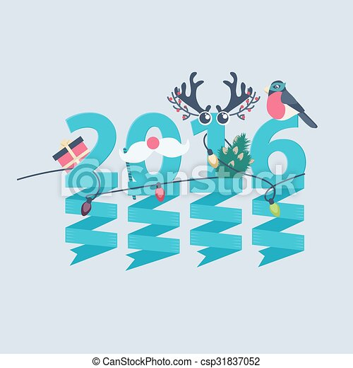 2016 new year greeting card design csp31837052