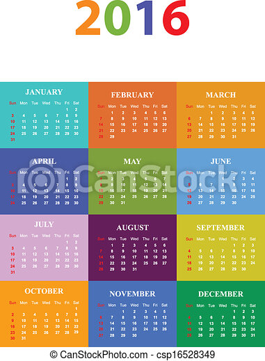 2016 Seasonal Calendar - csp16528349