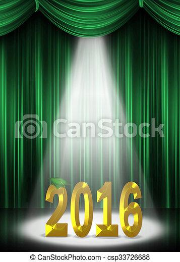 Oro y verde graduación 2016 - csp33726688