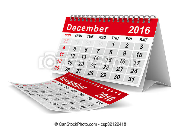 2016 year calendar. December. Isolated 3D image - csp32122418