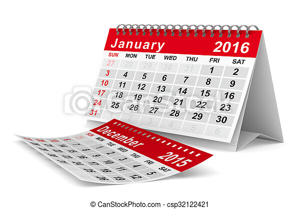2016 year calendar. January. Isolated 3D image - csp32122421