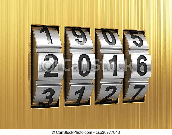 2016 Year combination lock - csp30777043
