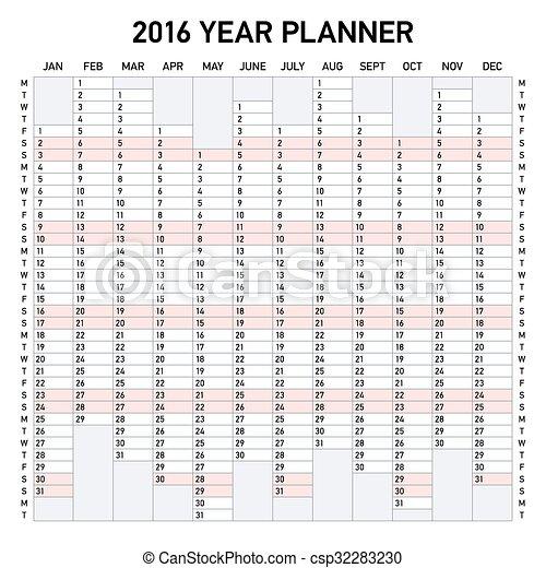 2016 year planner week starts monday