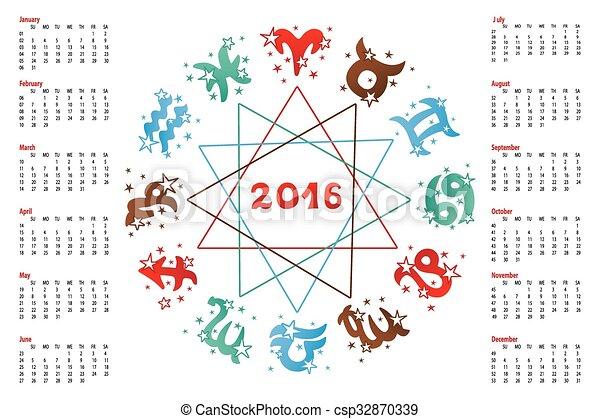 Calendario Zodiaco.2016 Horoscope Calendario Zodiaco Segno