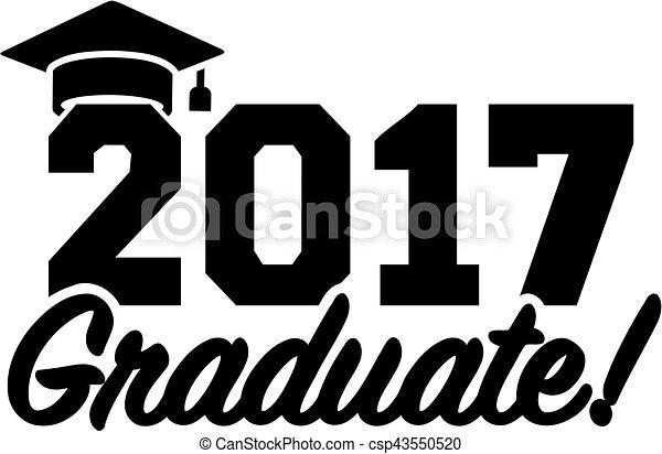 2017, 帽子, 毕业矢量
