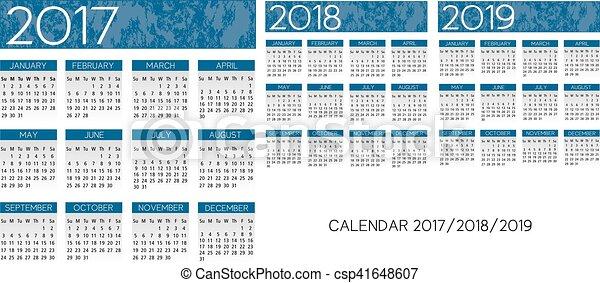 Calendario textual 2017-2018-2019 vector - csp41648607
