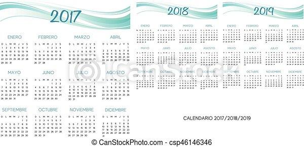 Calendario español 2017-2018-2019 vector - csp46146346