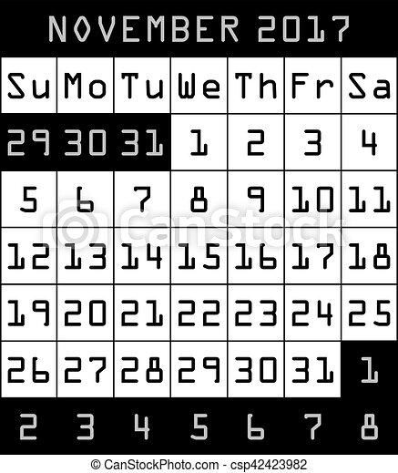 2017 calendar month of november black csp42423982