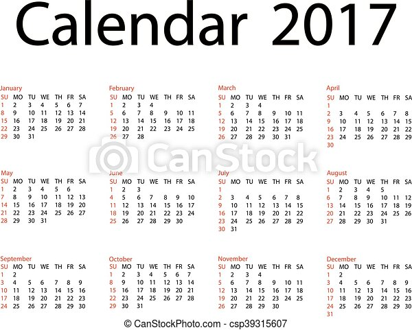 2017 Calendar Template First Day Sunday Illustration In Vector