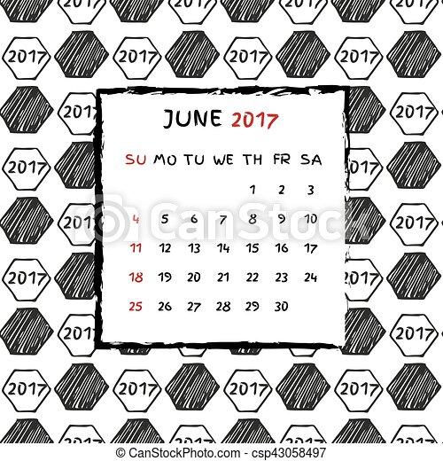 2017., calendario, inglés - csp43058497