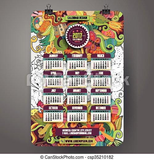 2017 dise o a o doodles calendario pascua caricatura - Disenos de calendarios ...