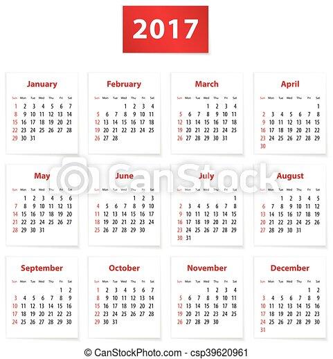 2017 English calendar - csp39620961