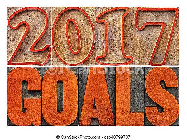 2017 goals banner in wood type - csp40799707