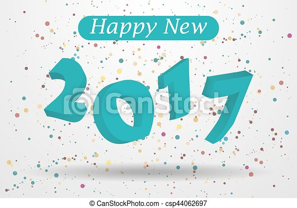 happy new year background in 3d with confetti csp44062697