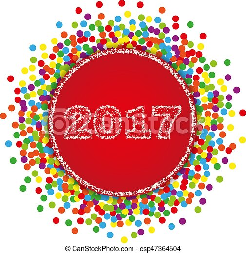 2017 happy new year background with confetti stock vector
