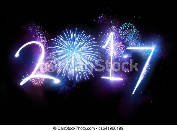 2017 Happy New Year Fireworks - csp41960199