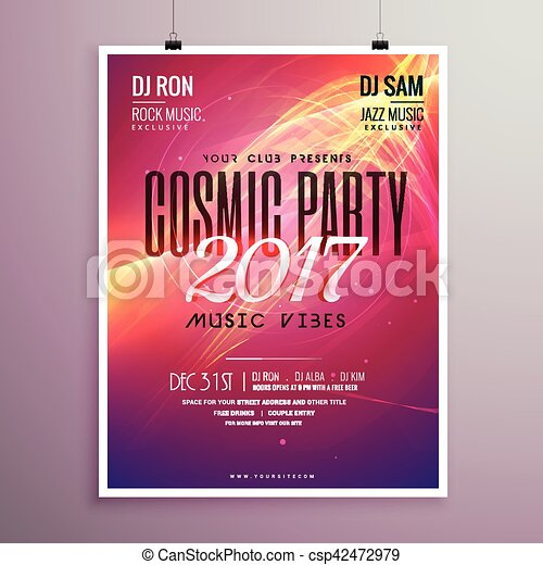 Happy New Year Party Event Flyer Template With Abstract
