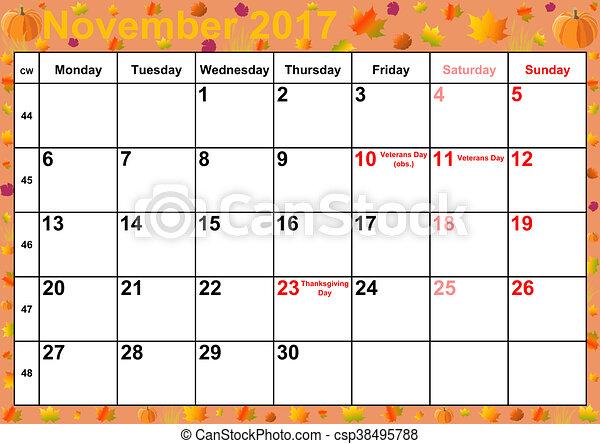 2017 Mois Calendrier Novembre Usa Calendrier Fond Colore