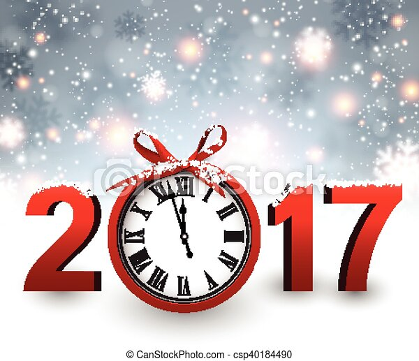 2017 New Year background with clock. - csp40184490