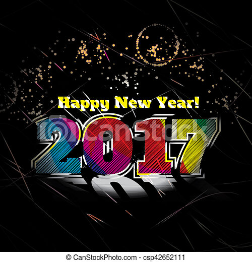 2017 new year card stylish attractive poster csp42652111