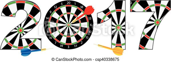 2017 New Year Number Outline Dartboard - csp40338675