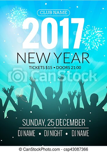 2017 nyew year party dance people background vector event flyer poster design happy new year fun night
