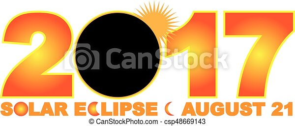 2017 Solar Eclipse Numeral Text Illustration - csp48669143