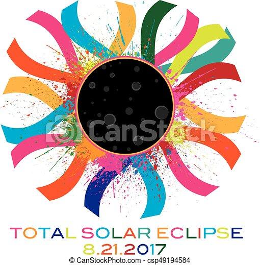 2017 Total Solar Eclipse Corona Text Color Illustration - csp49194584