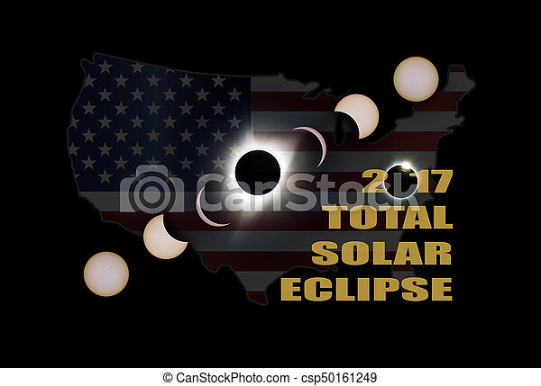 2017 Total Solar Eclipse Phases Across America - csp50161249