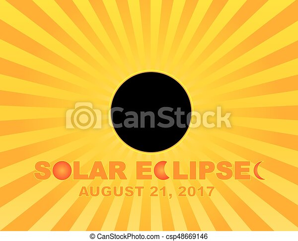 2017 Total Solar Eclipse Sun Rays Background Illustration - csp48669146