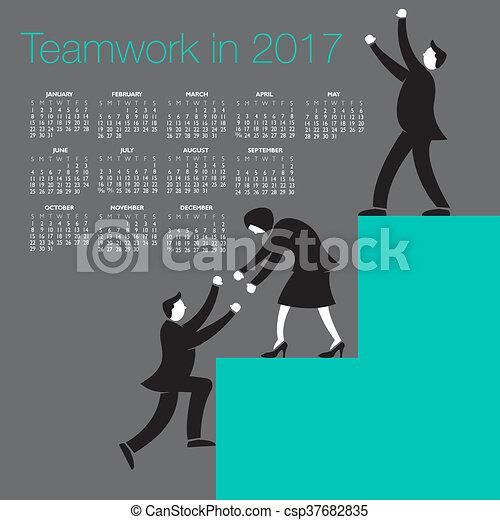 Calendario de trabajo en equipo 2017 - csp37682835