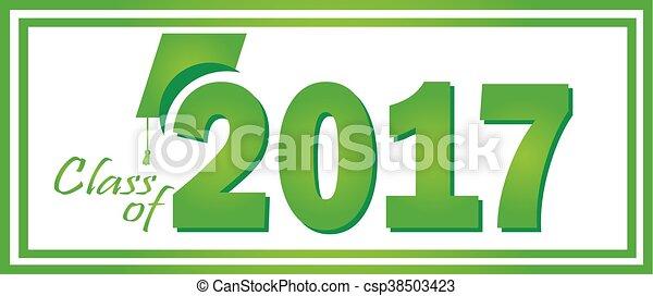 2017, verde, classe, graduazione - csp38503423