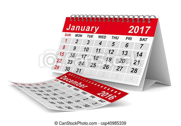 2017 year calendar. January. Isolated 3D image - csp40985339