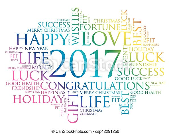2017 year greeting word cloud csp42291250