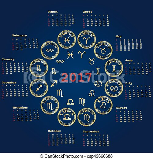 Calendario Segni.2017 Zodiaco Calendario Segni