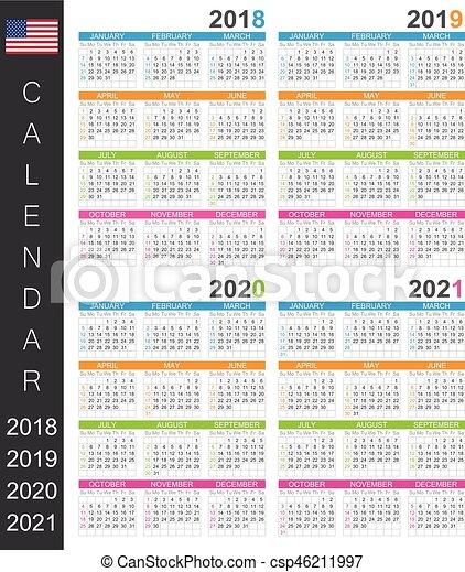 Calendrier 2018:2021 2018 2021, calendrier. /, années, gabarit, anglaise, semaine, 2019