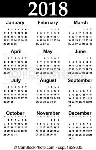 2018, ano, calendário - csp51629635