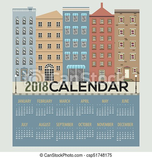 picture relating to Printable Buildings named 2018 Structures Cityscape Flat Layout Printable Calendar Starts off Sunday Vector Instance