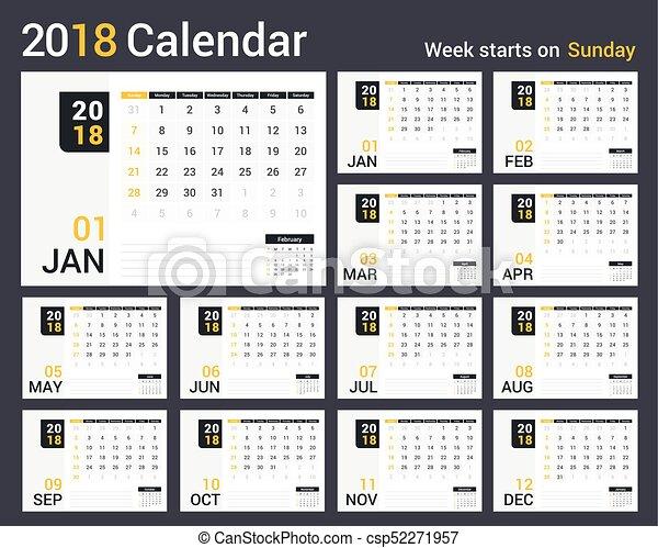2018 Calendar - csp52271957