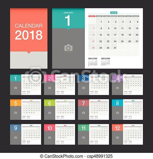 2018 Calendar Desk Calendar Modern Design Template 2018 Vector
