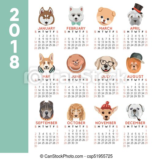 2018 calendar dog year breed cartoon pet icons month vector design template