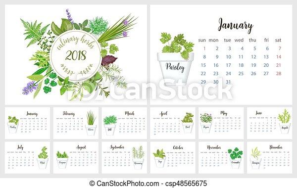 2018 calendar planner design culinary herbs