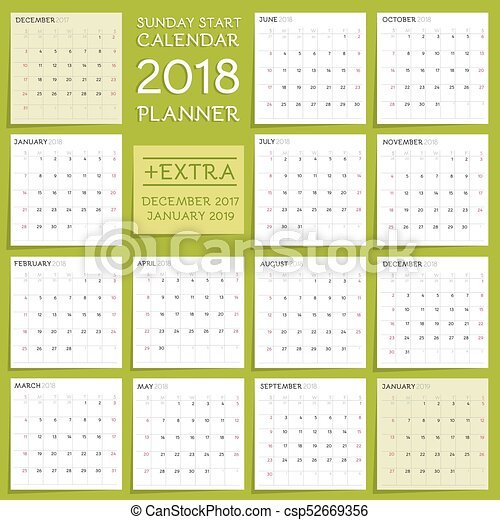 2018 calendar planner design week starts from sunday extra two